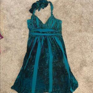 Green halter mini dress